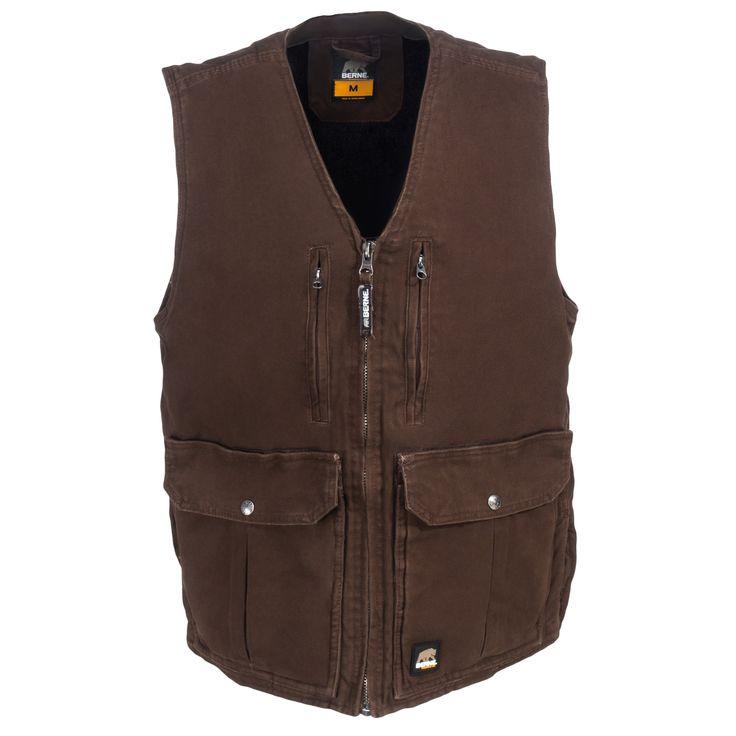 Berne Apparel Concealed Carry Men's Bark Fleece Lined CCWV02 BB Echo One Zero Vest