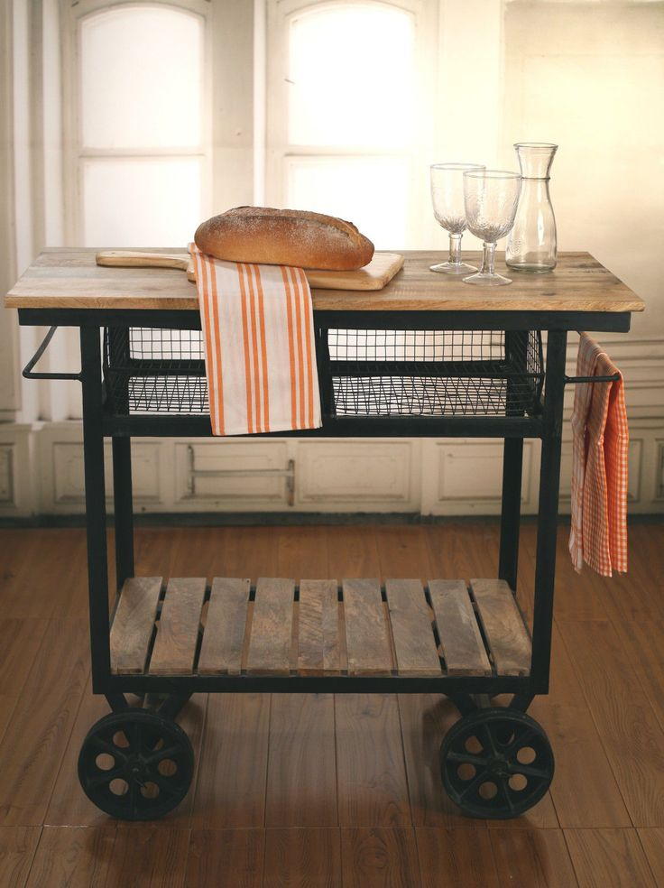 Industrial Style Kitchen Trolley Kitchen Island ON Metal Wheels Brand NEW | eBay