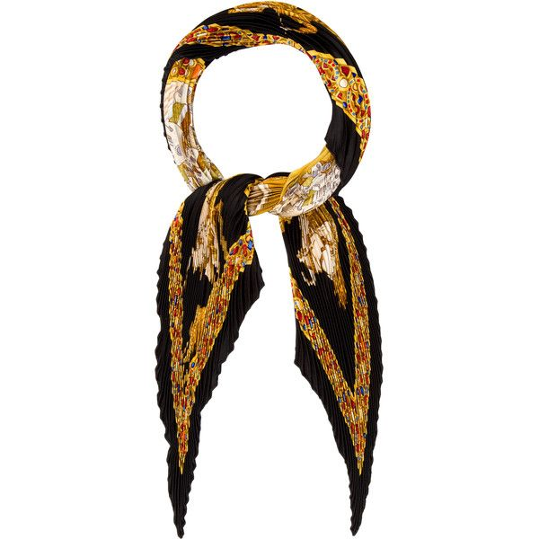 Pre-owned Herm?s Le Triomphe du Paladin Pliss? Scarf (376 375 LBP) ❤ liked on Polyvore featuring accessories, scarves, black, hermes shawl, colorful scarves, hermès, silk shawl and silk scarves