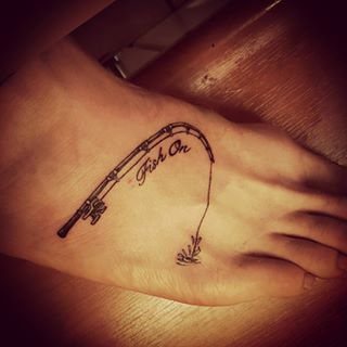 fish hook tattoo on foot - Google Search
