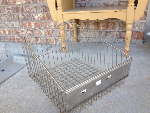 Large Industrial Wire / Metal Angled   Slanted Side Storage Bin / Basket  With Metal Plaque