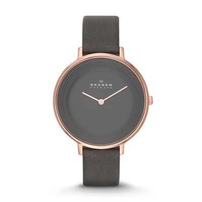 Our Ditte Women's Leather Watchfeatures a monochromatic dial with raised circular waves inspired by the wind-carved sands near Skagen. The minimalist matte dial features two-hand movement and is encased in a generous 36.5-mm polished stainless steel case. We added a soft leather band with traditional buckle closure and pin attachments to give this dresswatchfor women a versatile look that works in business as well as casual realms.