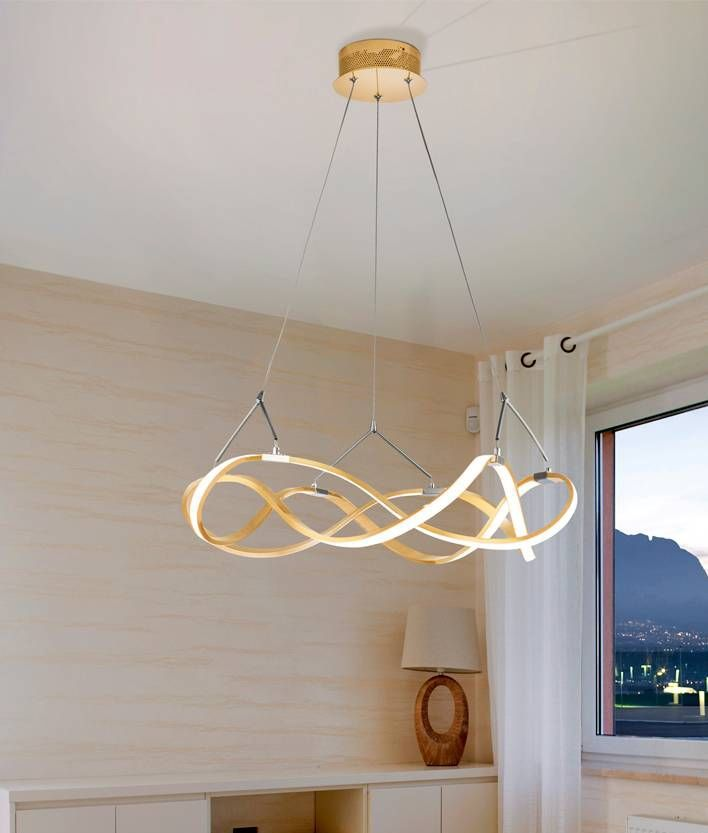 Double Twisted Swirl Led Pendant Two Finishes Light Decorations Lamp Design Swirl