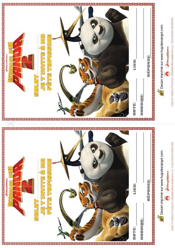 Des invitations Kung-Fu Panda 2 à découper.