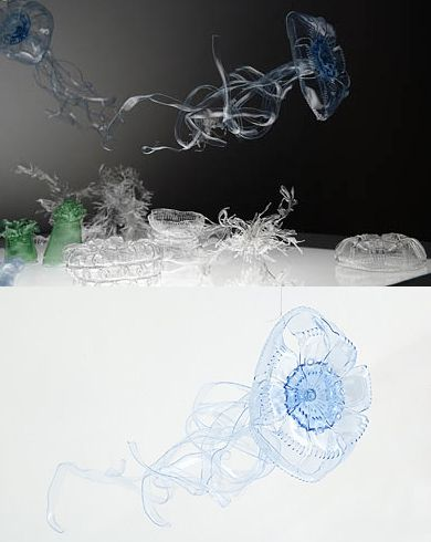 Upcycled plastic bottles into jellyfish art. Using various water bottles, Koizumi has created underwater creatures that have a translucent beauty. She manipulates the plastic heat guns, soldering irons and different cutting utensils.