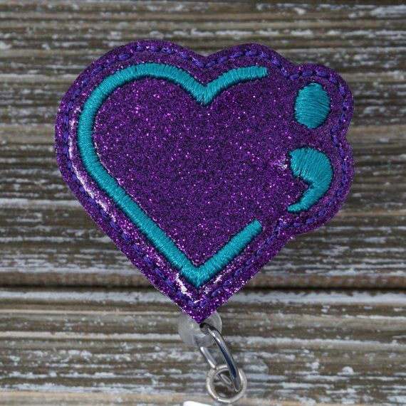 Semicolon Heart Badge Holder, Mental Health Awareness Badge