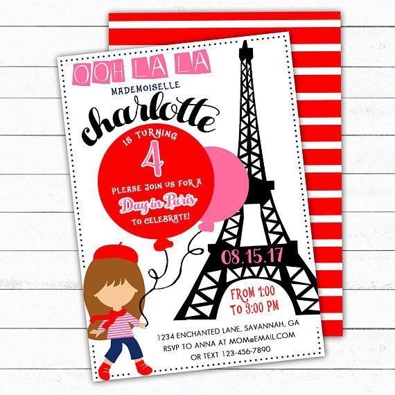 Paris Birthday Invitation Paris Party Invitation Eiffel