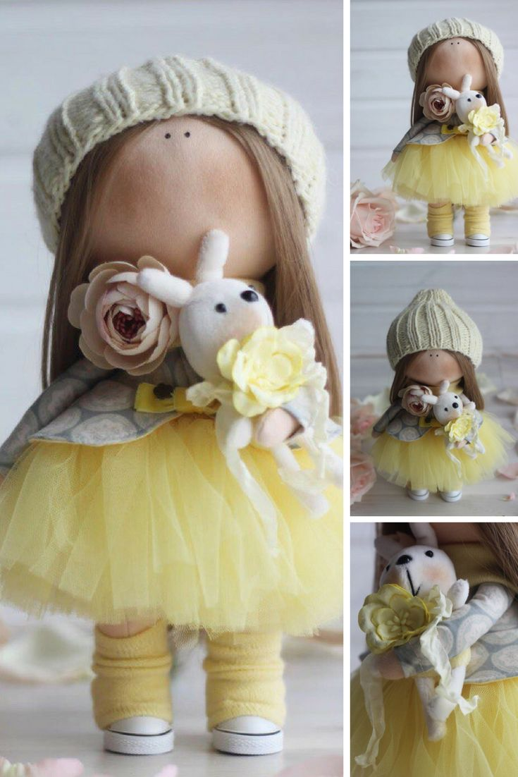 Puppen Bambole Baby doll Tilda doll Handmade doll Textile doll Fabric doll Cloth doll Rag doll Art doll Nursery doll Yellow doll by Oksana Z