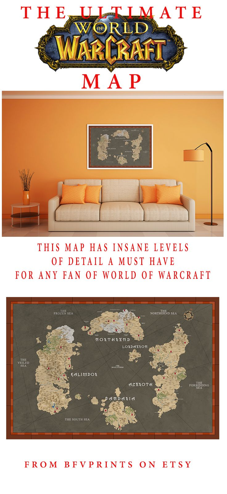 World of warcraft // Azeroth // Thrall // Stormwind // Heroes of the Storm // Hearthstone // Azeroth Map // Gaming decor // Gamer // Gaming room