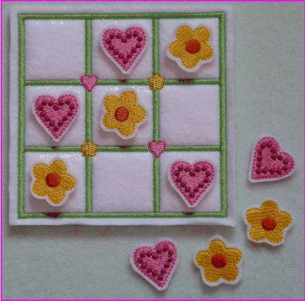 HeartsAndFlowersTicTacToe | Embroidery designs, Applique ...