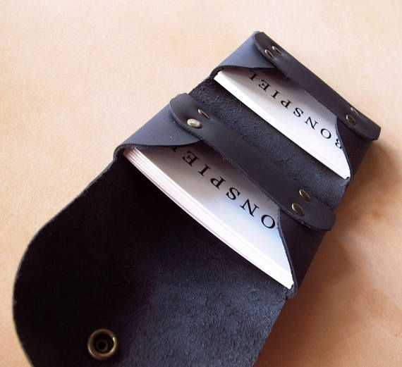 Minimalist Black Leather Card Case Two Pockets Business