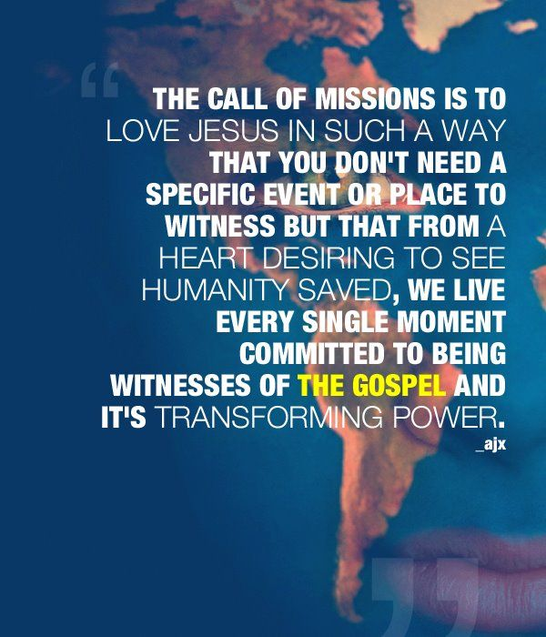 The call of missions.