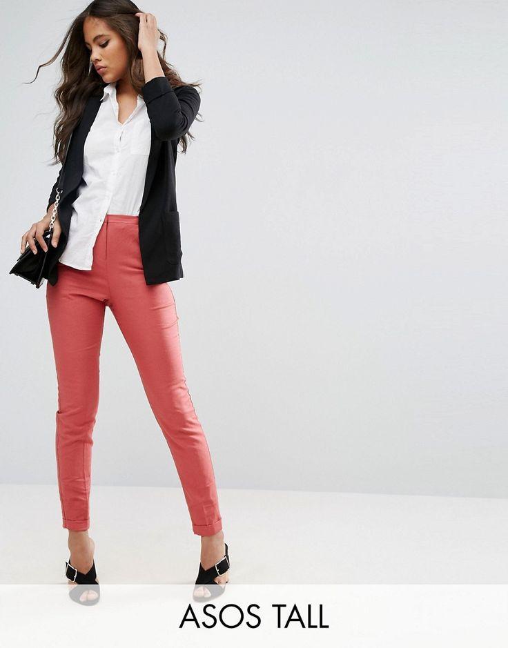 ASOS TALL Linen Cigarette Pants - Pink