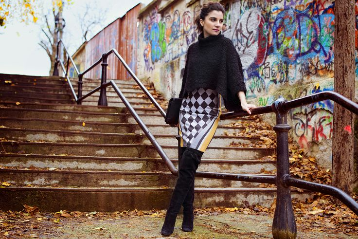 Diva Charms skirt, Zara sweater, Dolce & Gabbana boots, MOON by Dana Rogoz clutch www.cloudnumber9.ro