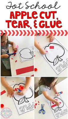 Cutting, tearing and gluing fine motor practice with an apple theme. Grab the FREE printable, great for tot school, preschool, or even kindergarten!