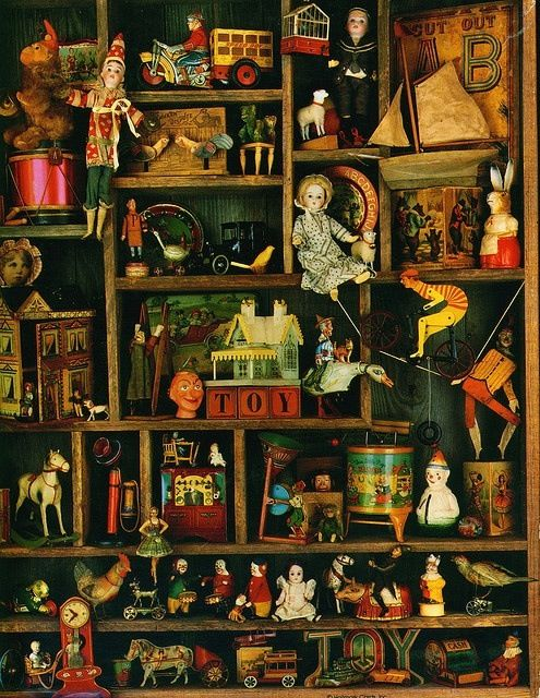 The vintage toys and ornaments of Christmases past, each the requilary of a simple, yet sacred memory of childhood.