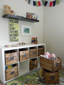 Ikea hacked shelves, add DIY crate storage bins. Tells you how. Used in playroom here but could work in craft/hobby room, as a dresser...Tweens or teens bedrooms.