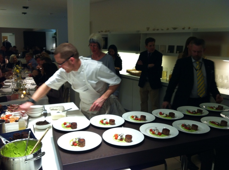 Michelin star chef Alan Murchison preparing duo of lamb for our distinguished guests!