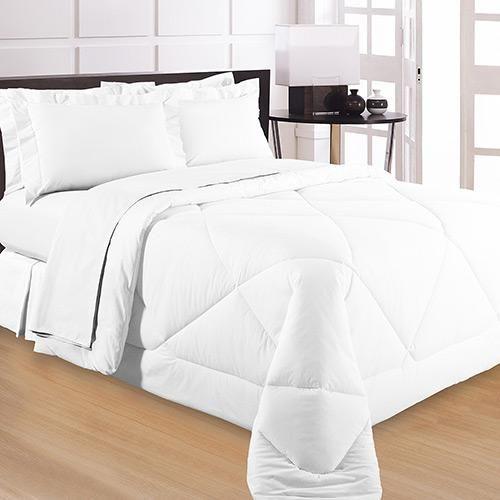 Edredom Solteiro Branco 200 Fios com Porta Travesseiro - Naturalle Fashion