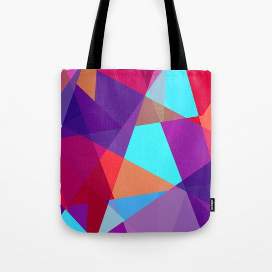 Purple Tote Bag  Geometric Print Tote Bag  Small  by TulipeStudio