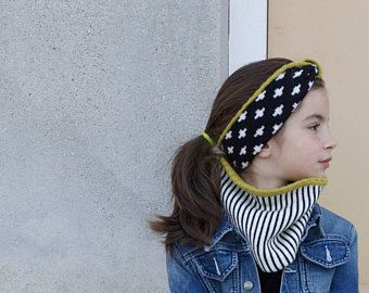 Matching knitted headband and knitted cowl, Kid's super knit, merino wool for kid's