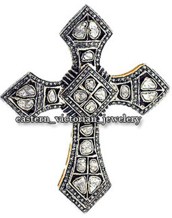 Victorian 3.90Cts Rose Antique Cut Diamond Silver Stunning Cross Pendant Jewelry #estateVictorianJewelery #NaturalDiamondReligiousCrossPendantLockets
