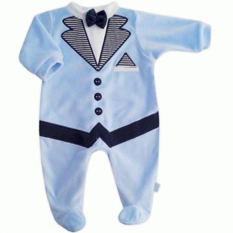 Pyjama garçon effet smoking en velours bleu ciel et marine > Babystock
