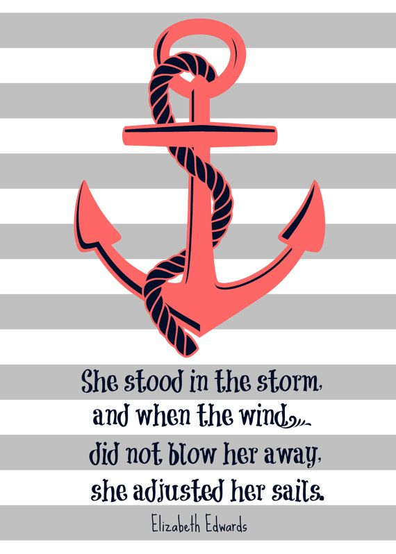 "Elizabeth Edwards Quote ""She stood in the storm...""  Anchor and Stripes 5x7 Print"