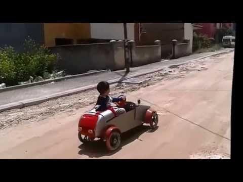 Şarjlı matkap ve motosiklet marş motoruyla çocuk arabası - homemade kid car