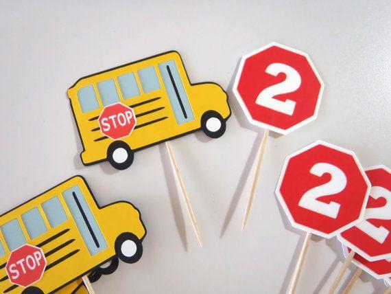 School Bus Party Cupcake Toppers  Wheels on by FeistyFarmersWife