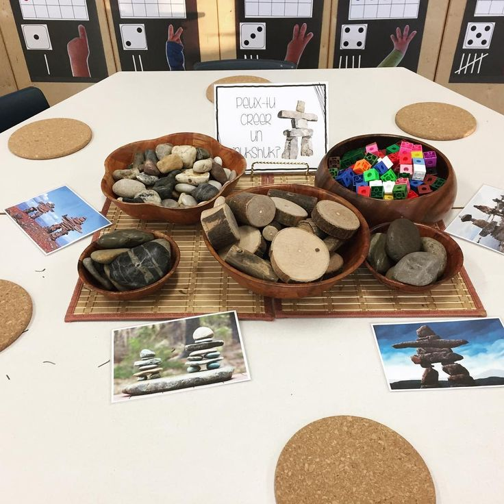 "40 Likes, 3 Comments - Laura King (@kindergartenteachertired) on Instagram: ""An invitation to build inukshuks as part of our learning about igloos and the northern Canadian…"""