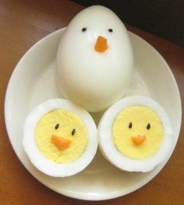 Chickie eggs (using sesame seeds and carrots)