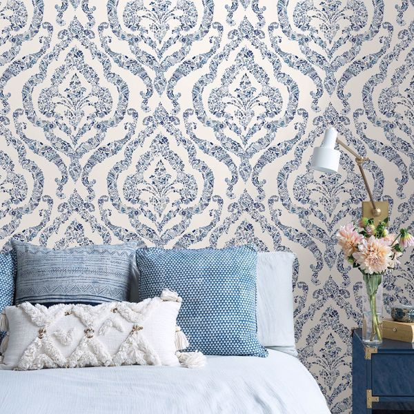 Blue Guildford Peel And Stick Wallpaper In 2020 Blue And White Wallpaper Blue Wallpaper Bedroom Master Bedroom Wallpaper