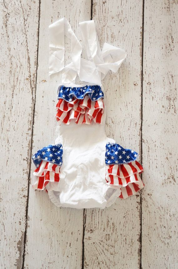 4th of July Romper baby girl 4th of july outfit by PoshPeanutKids