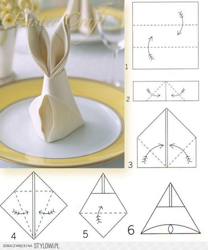 Een servetten in de vorm van een konijn ( voor pasen ).