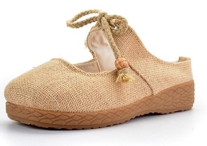 35-39 Woman shoes Retro classic flax Cloth Full Linen shoes embroidery  Leisure flats lace up flax Women  Natural flax handmade