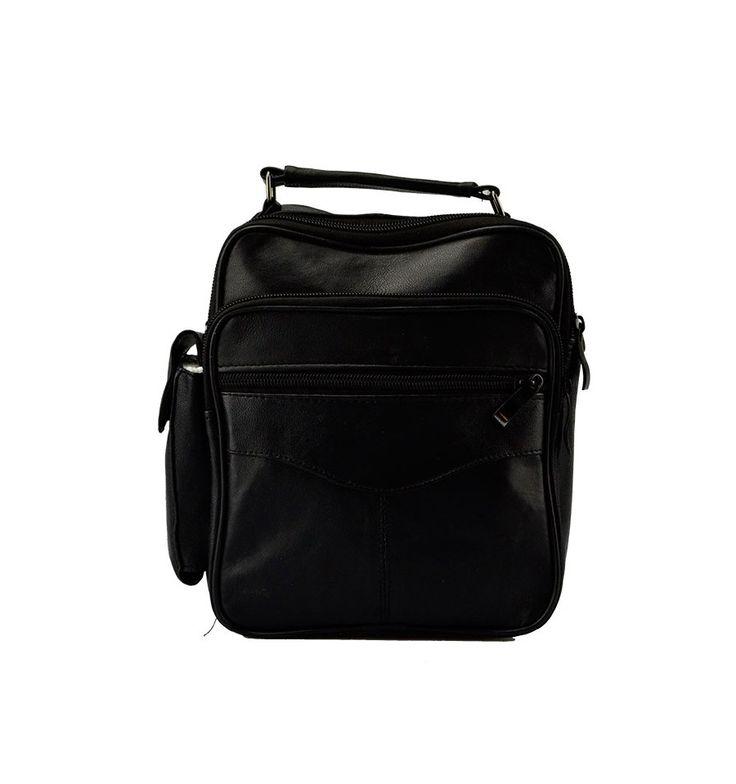 Lille skind herre taske med mange gode rum - 8724