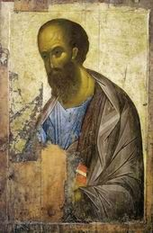 А. Рублев. Апостол Павел из деисусного чина, 1410-е. ГТГ