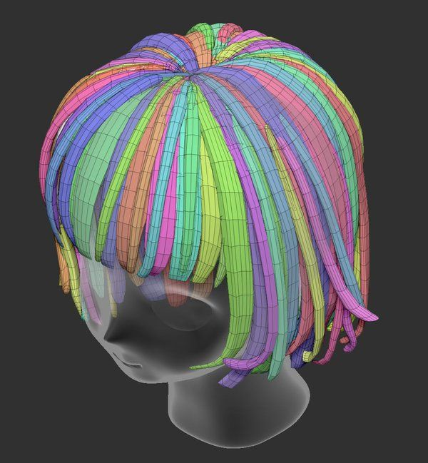 3d anime head hair topology