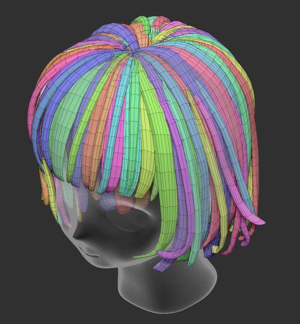 3d anime head hair topology