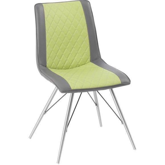 Auf diesem Stuhl lässt es sich besonders angenehm sitzen -für Ihren Komfort sorgt eineSchaumstoffpolsterung.Die Kombination aus trendigem Lederlook und frischem Grün macht den Stuhl besonders ästhetisch. 4 runde Stuhlbeine aus Edelstahl schaffen einen schönen Kontrast und erstrecken sich von der Mitte des Stuhls bis hin zum Boden. Setzen Sie mit diesem schönen Stuhl stilvolle Akzente in Ihrem Wohnzimmer!
