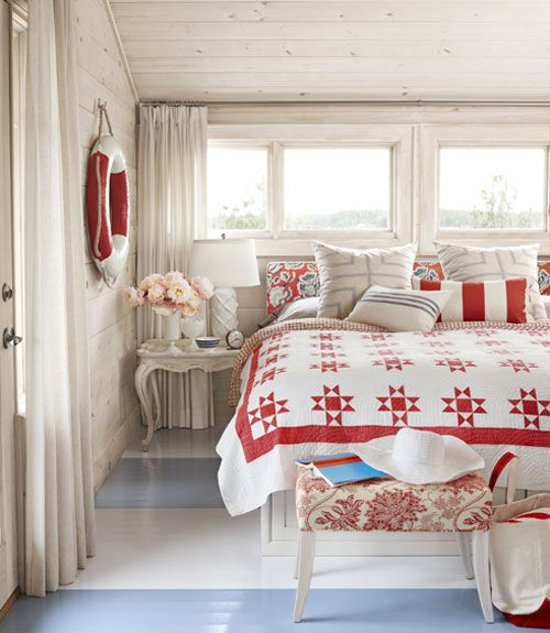 Red and white quiltSarah Richardson, Red, White Quilt, Cottages Bedrooms, Sarahrichardson, Painting Floors, Master Bedrooms, House, Nautical Bedroom