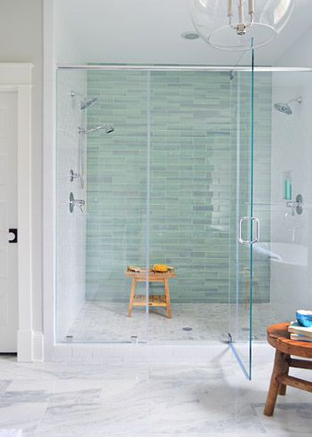 This Bathroom Shower Instantly Pulls You In With The Tranquil Watercolor  Effect Of This New Haven. Glass Tile BathroomBathroom Feature Wall ... Part 83