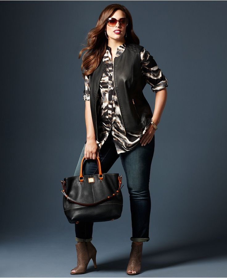 Fall Trend Report Plus Size Look of Leather Vest, Printed Shirt & Jeans Look - Plus Sizes - Macy's