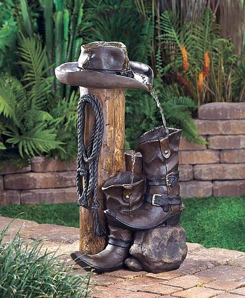 Who says that fountains have to be frilly? This ranch-style accent is loaded with authentic cowboy styling for a delightfully different take on gardening decor. Real rustic weathered finish makes it a