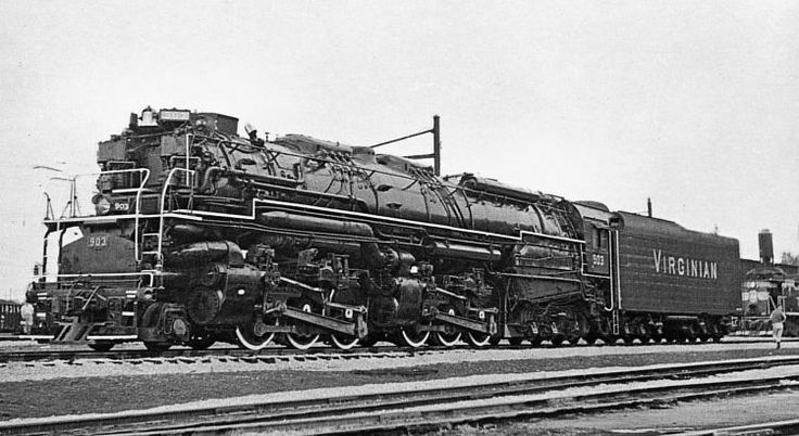 Massive Virginian 2-10-10-2 Mallet compound. In 1944 the railroad acquired seven  from the Lima Locomotive Works. Considered to be the heaviest locomotives ever produced.
