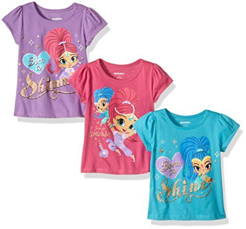 Nickelodeon Girls' Little Girls' Shimmer and Shine 3 Pack T-Shirts, Teal/Purple/Pink, 5  Great value  Super cute