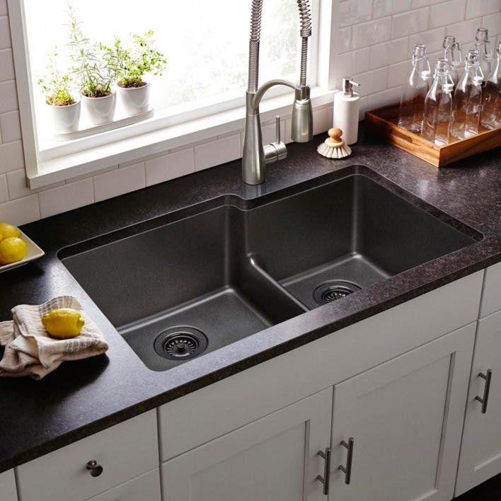 Quartz Classic 33 L X 21 W Double Basin Undermount Kitchen Sink Best Kitchen Sinks Undermount Kitchen Sinks Kitchen Sink Remodel