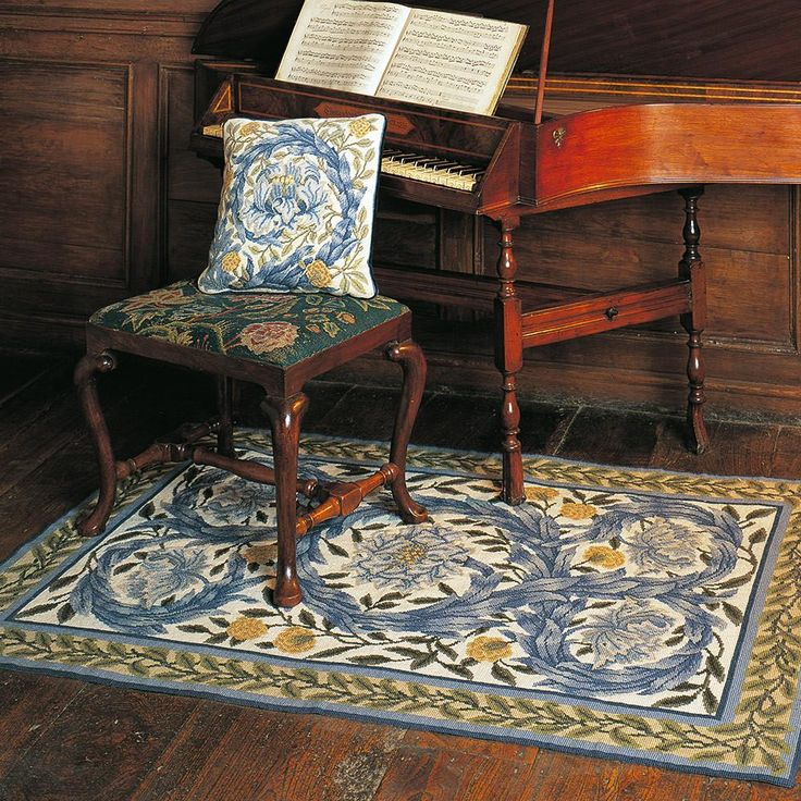 African Marigold Rug needlepoint kit. Beth has always admired Morris' delicate watercolour at the William Morris Gallery. The soft blues and gentle shading are easily reproduced in Appleton wools.