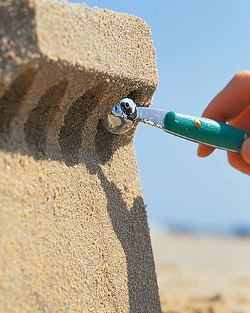 There are some great ideas on sand castle building here. Great tip: